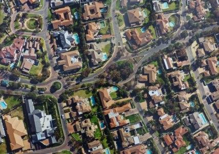 Vue aérienne du quartier résidentiel protégé de Dainfern, 2013