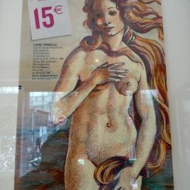 Vénus, Support publicitaire et marqueur Posca. D'après Sandro Botticelli, « La Naissance de Vénus ».