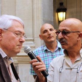 Reza, Jean Perrin (1er ambassadeur français en Azerbaïdjan) et Elchin Amirbayov, (ambassadeur d'Azerbaïdjan en France)