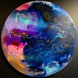 """Slow balloon"" avec un texte de Jack Kerouac ""The moon is moving thru the clouds. Like a slow balloon."""