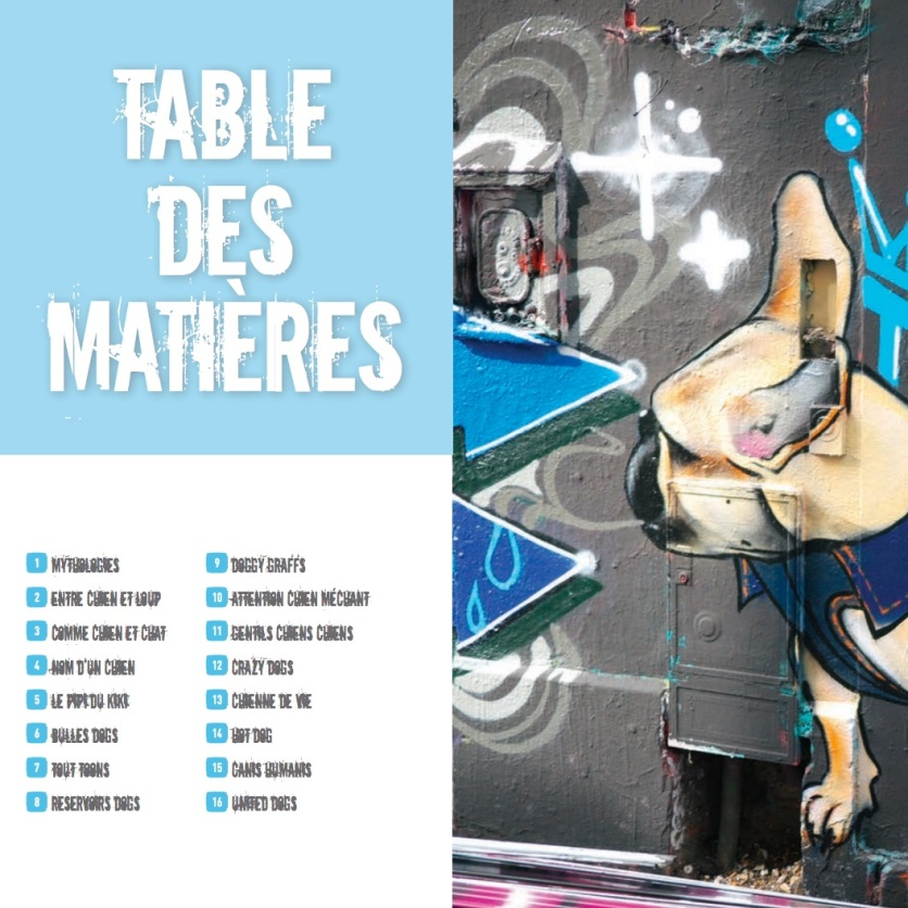 Table matieres Street art dogs