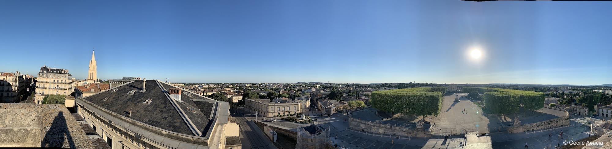 vue panoramique de Montpellier depuis l'arc de triomphe